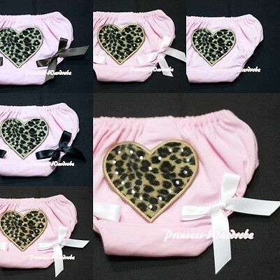 Leopard Heart Printing with Various Bows Ligh Pink Pantie Bloomer 4 Skirt 6m-3Y
