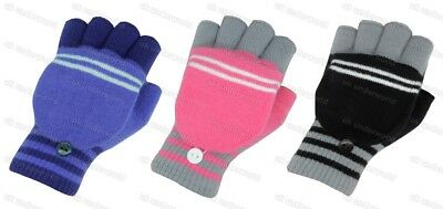 Girls Childrens Kids Fingerless Combo Converter Mittens Gloves All Colours Bnwt