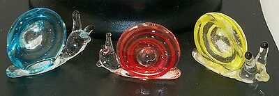 "Snail ArtGlass MINI 1"" carrying shell house on-back assorted colors 6 pcs.box"