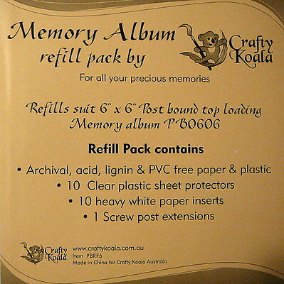 "6""X6"" Scrapbook Album Refill Pack Post Bound Top Loading from - Crafty Koala"