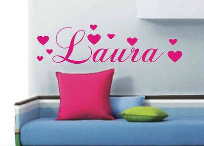 Personalised heart wall art sticker name - Any name can be made, style A