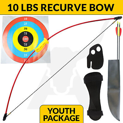 New 10 Lbs Apex Wizard Junior Kids Recurve Long Bow Red Archery Set Hunting