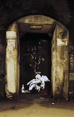"Banksy -Fallen Angel-Tramp Angel 24""x36"" Stencil Urban Art Print"