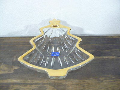 Studio Nova Yuletide Spirit Gold Christmas tree crystal candy dish with label