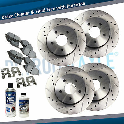 Front & Rear Drilled Rotor and Ceramic Pads 2006 - 2013 Ford Fusion MKZ Mazda 6