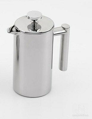 Grunwerg 3 Cup Straight Satin Double Wall Stainless Steel Cafetiere Coffee Maker