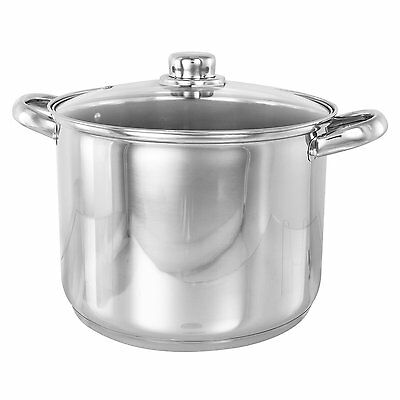 NEW STAINLESS STEEL INDUCTION DEEP STOCK POT 25CM 7.5 ltr STOCKPOT GLASS LID