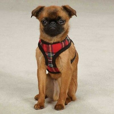 Dog Harness Red Tartan Pattern Adjustable Chest Strap Nickel Plated D-Ring