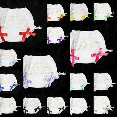 White Pantie Bloomer with Sparkle LOVE Printing Various Bows For Skirt 6m-3Year