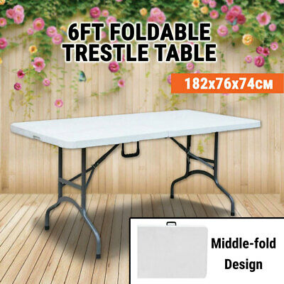 Middle Foldable Trestle Table 182x76x74 cm, Portable Picnic Blow Moulded Table