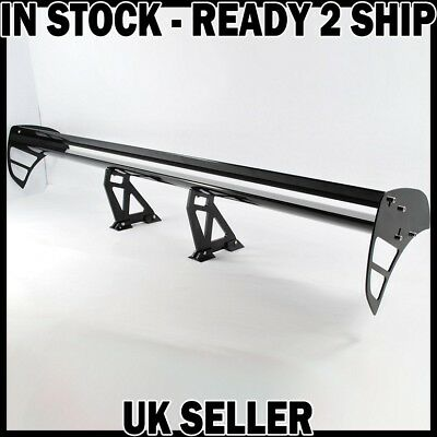 AJUSTABLE REAR TRUNK BOOT SPOILER WING Twin Black (a) Universal