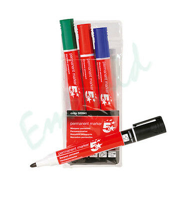 Permanent Marker Pens Bullet Tip - 4 Assorted Colours