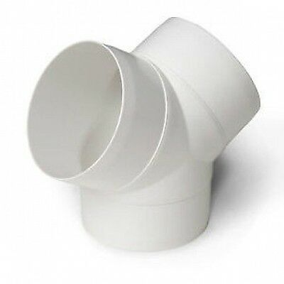 """Ducting Y Splitter Piece, Extractor Fan Duct Pipe For Ventilation VENT 100mm 4"""""""
