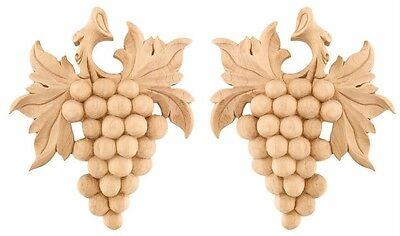 """IWW28- 7"""" x 6"""" Pair of Hand-Carved Grape Hardwood Scrolls in Oak Maple or Cherry"""