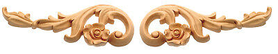 """IWW26 - 6"""" 9"""" 12"""" or 15"""" Pair of Hand-Carved Rose Scrolls in Oak Maple or Cherry"""
