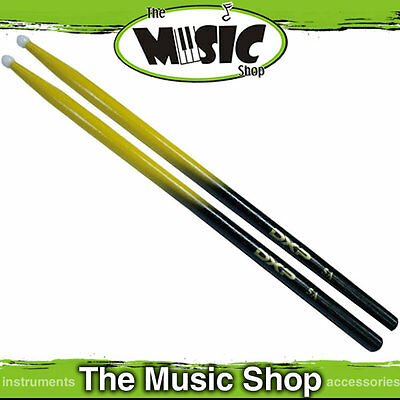 DXP Yellow & Black 5A Drumsticks with Nylon Tip - Black Drum Stick w Yellow Tip