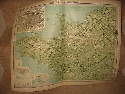Times Atlas Map FRANCE NORTH-WESTERN SECTION Bartholomew 1920 Plate 28