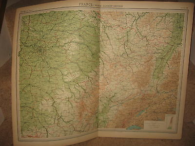 Times Atlas Map FRANCE NORTH-EASTERN SECTION Bartholomew 1920 Plate 29