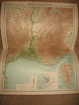 Times Atlas Map FRANCE SOUTH EASTERN SECTION Bartholomew 1920 Plate 31