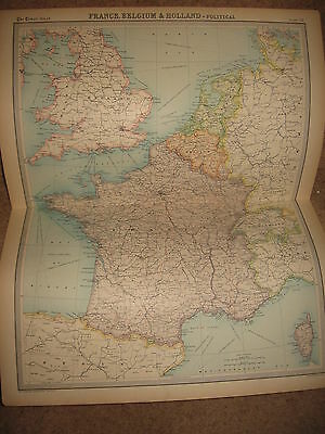 Times Atlas Map FRANCE BELGIUM+HOLLAND POLITICAL MAP Bartholomew 1920 Plate 32