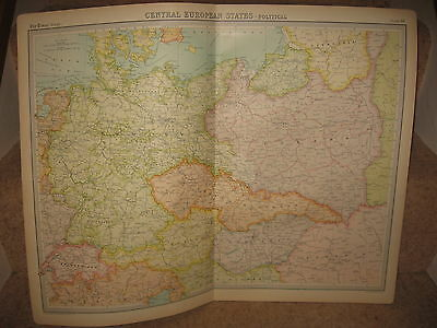 Times Atlas Map CENTRAL EUROPEAN STATES - POLITICAL Bartholomew 1920 Plate 38