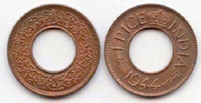 India 1943-1945 1 Pice 3 Coin Set AU (Y#533)