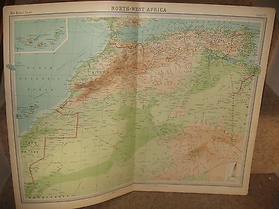 Times Atlas Map NORTH-WEST AFRICA  Bartholomew 1920 Plate 77
