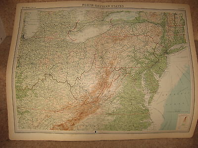 Times Atlas Map NORTH-EASTERN STATES Bartholomew 1920 Plate 93