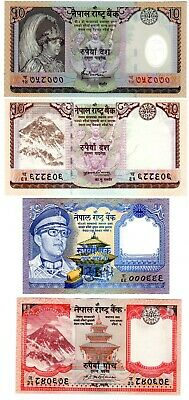 LOT SET SERIE 4 BILLETS Nepal RUPEES ROI DIFFFERENTS PHOTO NEUF UNC