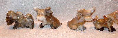4 Imperial Glass Caramel Slag Parlor Pups Dogs---Whites, Tans