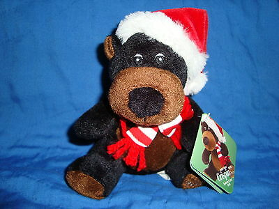 Sears Christmas Plush Beanbag Black Bear 2010 Crispin W/Tags
