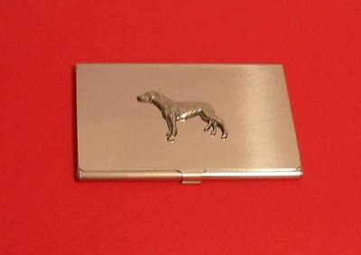 Greyhound Pewter Motif Chrome Plated Card Holder Gift