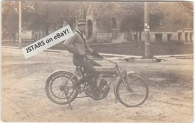 c. 1909 CURTISS MOTORCYCLE POSTCARD, VINTAGE PHOTOGRAPH RPPC