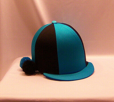 Riding Hat Cover - Turquoise & Black