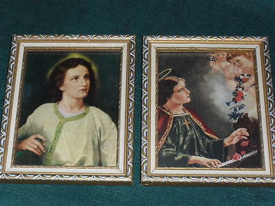 "Two Vintage Religious 5"" x 4"" FRAMED SAINTS PICTURES w/Cheribs Angels"