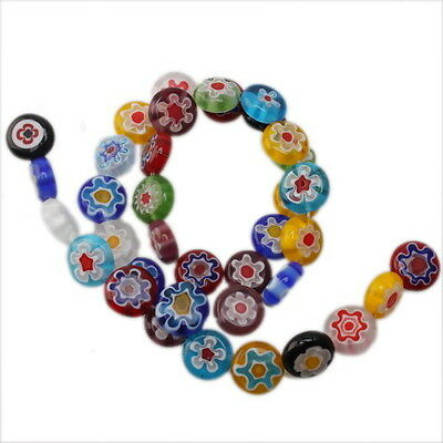 1x 110871New Wholesale Mix Millefiori Flower Oblate Lampwork Beads