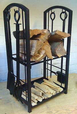 Manor Log Station Stand Holder Fuel Fire Companion Set