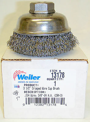 """Weiler 13178 3-1/2"""" Crimped Wire Cup Brush 3/8""""-24thd. .014 Wire"""