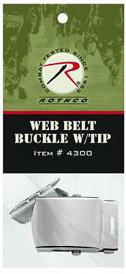 """Silver Buckle and Tip for 1 1/4"""" Military Web Belts"""