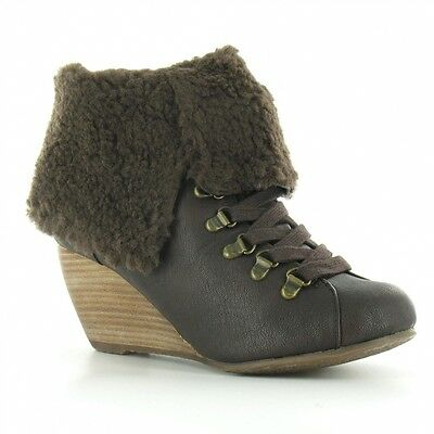 BlowFish Banker Womens Fold Down Faux Sheepskin Wedge Heel Ankle Boots Brown