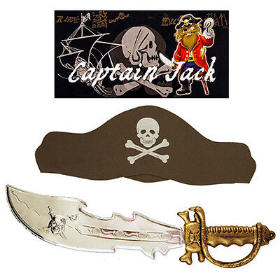 Adult Kids Swashbuckling Captain Jack Pirate Plastic Hook Hand Fancy Dress Set