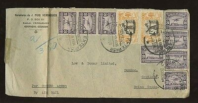 ECUADOR 1934 AIRMAIL MULTIFRANKINGS to SCOTLAND DUNDEE...16 stamps on 2 COVERS