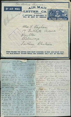 1941 WW2 SOUTH AFRICA APO OAS LETTERSHEET...EXCELLENT MESSAGE to S.RHODESIA