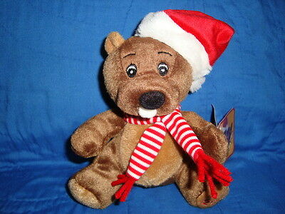 "Sears Christmas Plush Beanbag Beaver BOSLEY 2011 6"" W/Tags"