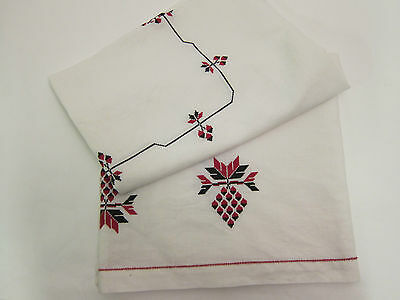 VINTAGE LINEN TABLECLOTH WITH RED AND BLACK EMBROIDERY