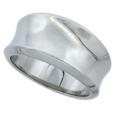 11mm Stainless Steel Concaved Cigar Band Ring, Beveled Edges