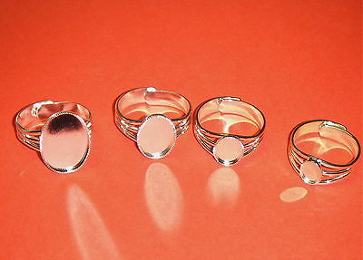 Fancy Silver Plated Cabochon ring Blank base for Fimo, Cabs, and resin