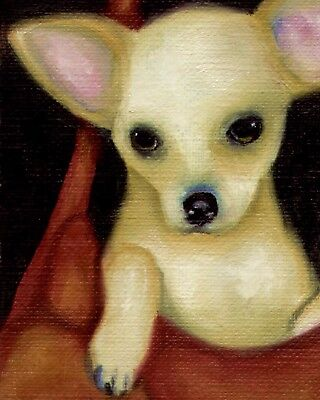 8x10 CHIHUAHUA Fawn in Purse Signed Dog Art PRINT of Original Painting by VERN