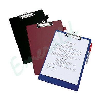Clip Board A4 Size Black, Blue or Red Clipboards & Pen Holder SAME DAY DISPATCH