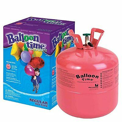 disposable helium tank with balloons and ribbons